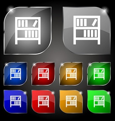 Bookshelf icon sign Set of ten colorful buttons vector