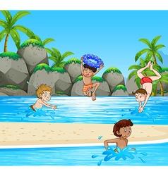 Boys having fun at the beach vector image