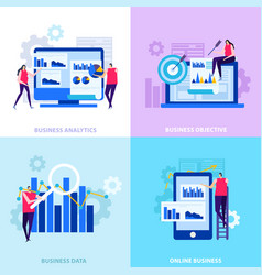 business analytics flat design concept vector image