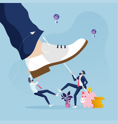 Businessman fighting with giant foot vector