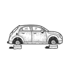 Car without wheels sketch vector