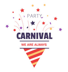 carnival party isolated icon birthday cone hat and vector image