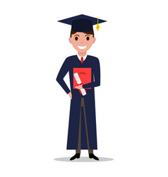 Cartoon student boy graduate vector