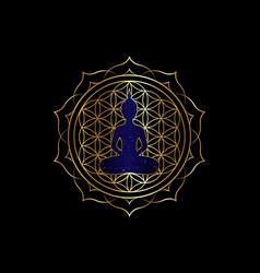 Chakra concept lotus position gold yantra mandala vector
