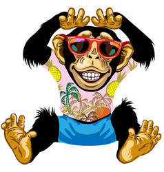 Cheerful chimpanzee wearing sunglasses vector