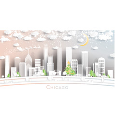 Chicago illinois usa city skyline in paper cut vector