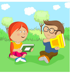 Children with books sitting on meadow vector