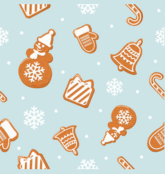 christmas seamless pattern different gingerbread vector image