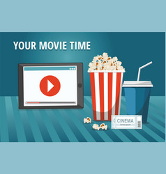 cinema poster with tablet popcorn and other vector image