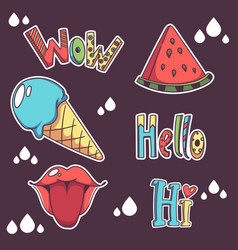 Collection of summer doodle patch badges hello vector