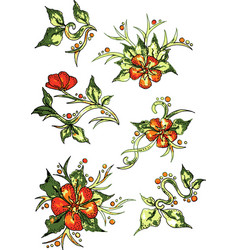 colorful flowers white background pattern vector image