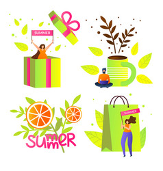 colorful summer icons with typography clip art vector image
