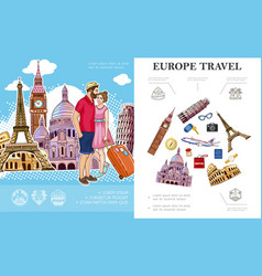 Colorful trip to europe concept vector