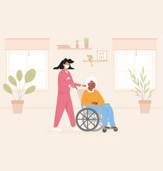 concept for old age home during pandemic nurse vector image