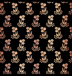 Copper foil folk flowers on black repeat pattern vector