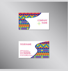 creative business card with bright ornament vector image