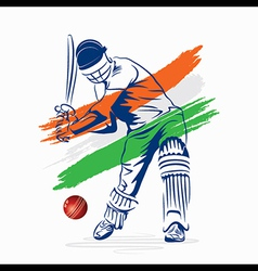 cricket player hi the ball design by brush stroke vector image