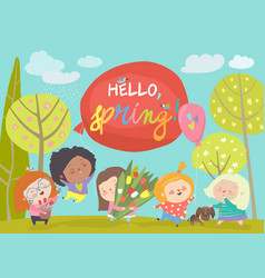 cute little girls meeting spring in park vector image