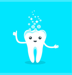 cute smiling happy tooth clean vector image