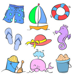 doodle of object holiday summer theme vector image