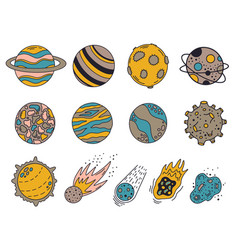 Doodle planets hand drawn universe planets vector