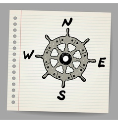 Doodle steering control-compass sketch concept vector