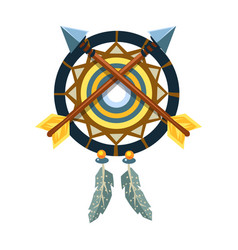 dreamcatcher charm with crossed arrows native vector image