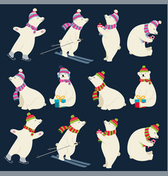 dressed polar bears collection for christmas vector image