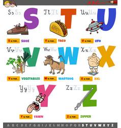 Educational cartoon alphabet letters for kids set vector