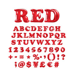 English alphabet and numerals from red balloons vector