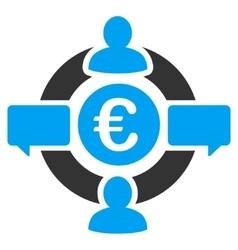 Euro Social Network Flat Icon vector image