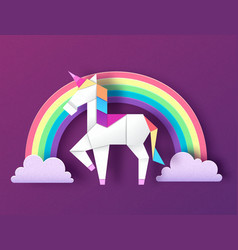 fantasy animal horse unicorn with rainbow vector image