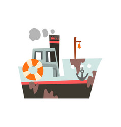 Fishing boat industrial trawler for seafood vector