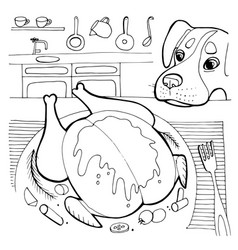 Funny happy dog character asks for food vector