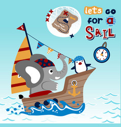 Funny sailor and crew on a little sailboat vector