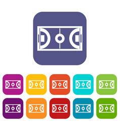 Futsal or indoor soccer field icons set vector