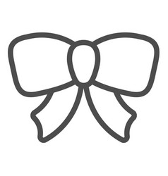 Gift ribbon bow line icon decoration vector
