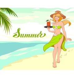 Girl with cocktail on beach Summer vacation beach vector