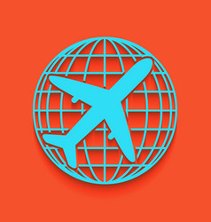 Globe and plane travel sign whitish icon vector