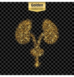 Gold glitter icon of renal system isolated vector