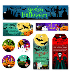 halloween tag and label of october horror party vector image