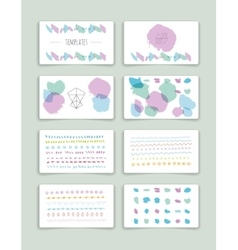 Hand drawn brush strokes card templates set vector image