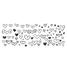 Hand drawn heart shape isolated on white vector