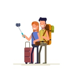 Happy couple doing selfie photo while on vacation vector image