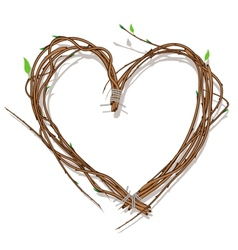 Heart woven of twigs isolated on white vector