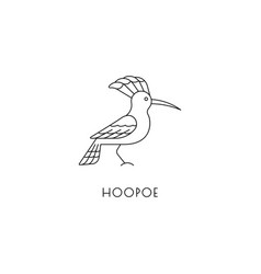 Hoopoe outline icon vector