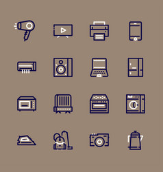 icons set of home appliances vector image