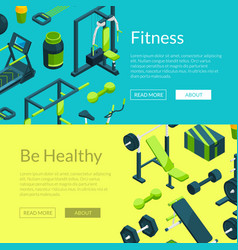 isometric gym banners vector image