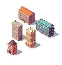 Isometric set of residential buildings vector