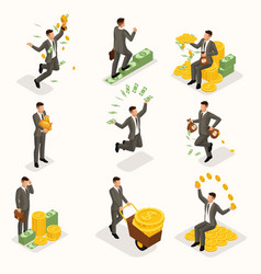 isometric young businessman money profit gold vector image
